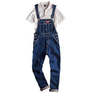 Sokotoo Erkekler büyük cep kargo mavi kot önlük Casual yama tasarımın jumpsuits Jeans Tulumlar overalls