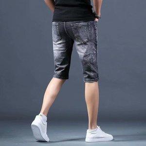 5 pontos Breeches Retro esfarrapados das calças calças soltas impressas de Verão Fina Shorts Homens de Shorts Men Denim