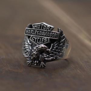 Tay Gümüş Eski Harley Kartal Açık Halka 925 Gümüş Takı Vintage Erkek Moda Yüzük Ücretsiz Kargo Sıcak Satılık Soğuk