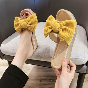 Net Red Slippers Women Wear Explosive Models 2020 Summer Butterfly-knot Wedge Thick Bottom 4.5cm Muffin Word Beach Sandals Women