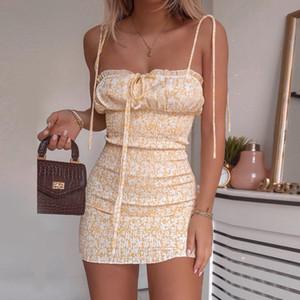 Cryptographic Art und Weise Blumendruck-Frauen-Minikleider Feriensommerkleid Sommer Sexy rückenfreies Kleid Bohemian hohe Taillen-Minikleid