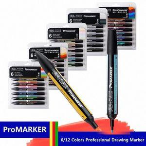 Forniture Winsor & Newton professionale pennarello 6 / Doppia SideRound punta e Oblique disegno di progetto pennarello Art ODAC #