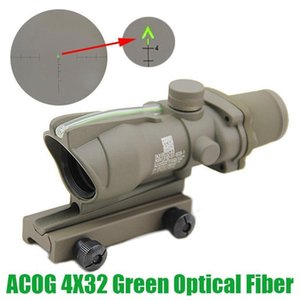 전술 ACOG 4X32 섬유 소스 광학 그린 도트 조명 쉐브론 유리 에칭 십자선 리얼 녹색 섬유 소총 범위