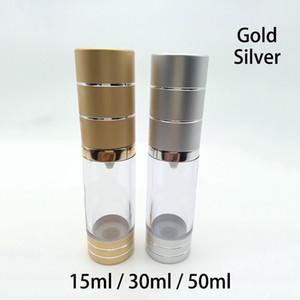 50ml 30ml 15ml Esvaziar ouro plástico prata Airless bomba frasco de petróleo essencial Foundation Creme Packaging Container frete grátis