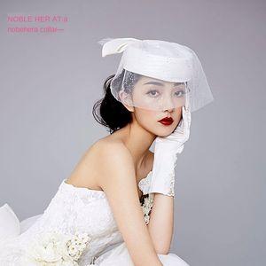 Bride headdress headwear headwear with White gauze hat Hepburn style elegant dress accessories banquet gauze cover headdress