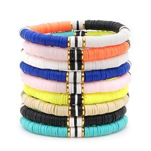 Boho Multicolored Polymer Clay Stretch Bracelets Women Girl 2020 New Fashion Bohemian Beach Holiday Ethnic Style Charm Bracelets Jewelry
