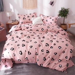 3 4Pcs Set Cartoon Pink Bedding Sets Geometric Pattern Bed Linings 5 sizes Leopard Duvet Cover Bed Sheet Pillowcases Cover Set
