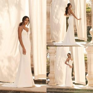 Simple Satin Mermaid Wedding Dresses Sexy Spaghetti Lace Appliques Bridal Gowns Backless Sweep Train Wedding Dress vestidos de novia