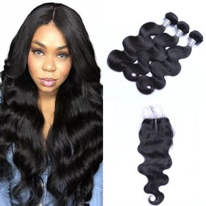 Brazilian Virgin Hair Weave Bundles Body Wave 3 Bundles with Closure 4*4 Lace Closure with Human Hair Bundles