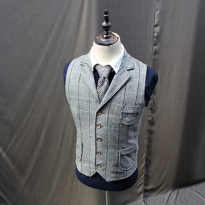 Vintage Mens Tweed Wool Blend Plaid Vests Coats Lapel Collar Waistcoats X2