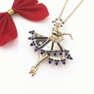 New features accessories 2019 pendant wind Pearl Diamond Ballet Girl Necklace sweater chain fashion