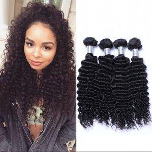 Brazilian Deep Wave Bundles 4 Bundles Human Hair Weave Bundles Virgin Hair Extension Natural Black Color