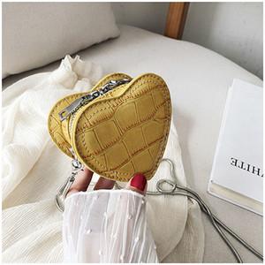 De alta calidad de las mujeres en forma de corazón Mini bolsas de hombro de las señoras Cadenas mujeres bolsas de mensajero de cuero diseñador de la PU Mujer bolso de Crossbody