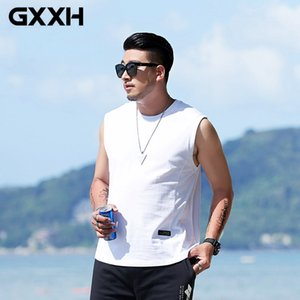 GXXH 6XL 7XL Basic Tank Tops Plus Size Summer Men's 100% Cotton White Black Solid Tops Tees Large Men's Oversize Sleeveless Vest