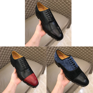 Genuine Leather Designer Men Dress Oxfords scarpe di lusso in rilievo inferiore rossa Lace-up Moda business matrimoni Ufficiale Calzature Size38-45