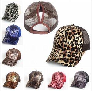 Mesh Ponytail Hat Leopard Camo Baseball Cap Unisex Hollow Criss Cross Messy Adjustable Outdoor Summer Suncreen Hats Party Caps LJJP246