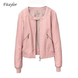 heap Leather Jackets Fitaylor 2020 Faux Leather Jacket Women O-neck Zipper Casual Jackets Female Short Biker Coat Plus Size S-4XL Basic O...