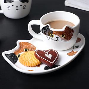 Sevimli Kedi Seramik Kahve Kupa Seti Handgrip Hayvan Kupalar ile Tepsi Yaratıcı Drinkware Kahve Çay Bardaklar Yenilikçi Süt Kupası Kahvaltı