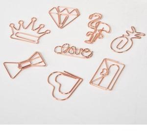 Clip di carta creativo Metal Rose Gold Crown Flamingo Clip di carta Bookmark clip Memo Planner Ufficio Scolastico rifornimenti SN1645