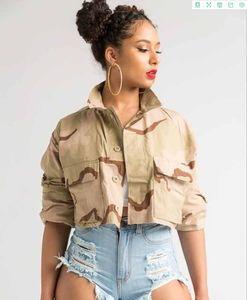 Sommer-neue Art Camouflage-Jacken Damen Sexy Druck drehen unten Kragen-Knopf-Mäntel der Frauen Boho Street Hip Hop Outwear