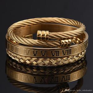3pcs / Set numeral romano Homens Pulseira Handmade aço inoxidável Hemp Rope Buckle Abra Bangles Pulseira Bileklik 2020 jóias de luxo
