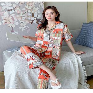 Multicolor Pattern Summer Pajamas Set Short Sleeve Animal Printed Couple Sleepwears Fashion 2 Colors Nightdress Two-piece Sets