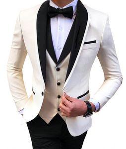 Elfenbein Herren Anzüge 3 Stück Schwarz-Schal-Revers-beiläufige Smoking für Hochzeit Groomsmen Suits Männer (Blazer + Vest + Pant)