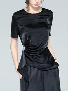 Женские блузки рубашки шифоновая рубашка 2021 европейский нерегулярный тиснение плиссированная талия закрыта верхняя часть черного с коротким рукавом яркий лицевая блузка су