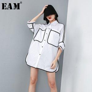 [EAM] 2020 New Spring Summer Lapel Half Sleeve Pocket Split Joint Loose Big Size Overisze Shirt Women Blouse Fashion Tide JT609 Y200622