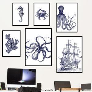 Semplice arredamento in stile nave pirata Octopus impermeabile inchiostro Unframed della tela di canapa Pittura Soggiorno Bagno decorazione di arte