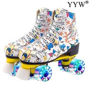 pu leather roller skates double line skates women men adult children two line skate shoes patines graffiti pu 4 wheels patins