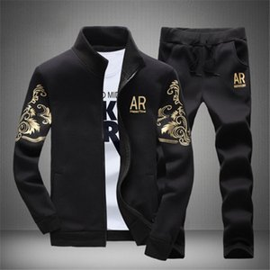 Autumn Sporting Track Suit Male Fitness Stand Collar Sweatshirts Jacket+Pants Sets Mens Tracksuit Outwear Hoodie Set 2 Pieces T200709