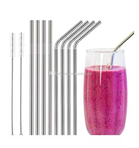 Reusable Stainless Steel Straws straight and bend cleaning brush reusable drinking straw bar drinking tool FDA-Approved