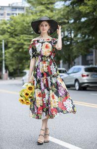 Holiday beach sale summer ins wholesale runway new hot Slash neck Short sleeves Panelled Print Peplum Free dresses