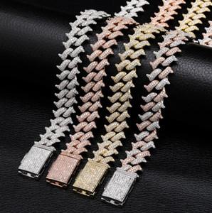 14MM Iced Out Цепи мужские Дизайнер ювелирных изделий Link Chain Luxury Bling Рэппер Хип-хоп Майами большой ящик пряжки Куба цепи полный циркона ожерелье