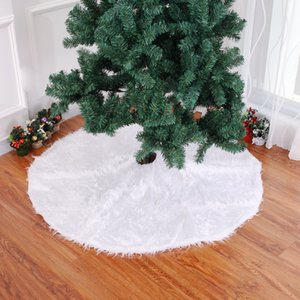 New arrivals 31 inch Solid color white Plush Christmas Tree Skirt Christmas Tree Decorations Free Shipping