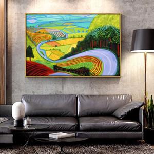 Artcozy Garrowby Хилл Хокни масло холст картины для украшения дома Wall Art Холст Полиграфия напыление Аннотация Одноместные