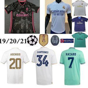 20 21 Real Madrid # 7 PERICOLO Jersey di calcio 2019 camicia MODRIC Marcelo uomo di calcio tailandese di qualità superiore BALE ASENSIO Terza Kit maglia calcio