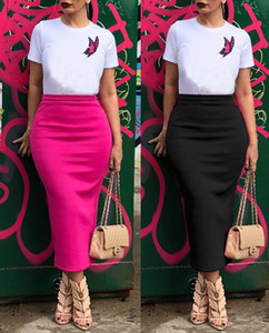 Frauen Solid Color Rock mit hoher Taille Slim Fit Pack-Hüfte-Rock Famale OL eine Linie Rock
