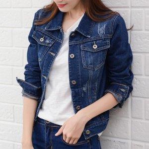 2019 Spring court Denim Jeans Veste femme Manteau coréenne Mode bonbons couleur Slim Vestes Cowboy style de base Tenues CX200725