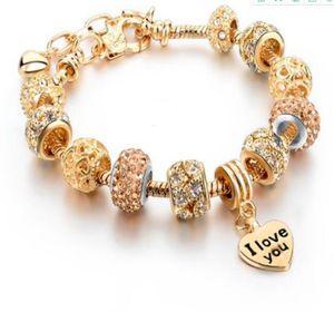 DHL Heart Charm pendant Bracelets & Bangles heart love Gold beaded Bracelets For Women Jewellery Bracelet for women