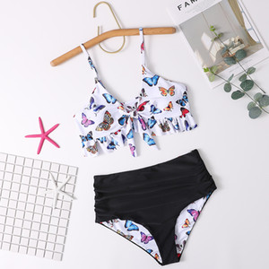 Fashion women's swimwear summer new sexy bikini swimsuit double-sided sling butterfly print split bikini swimsuit Size S-XL