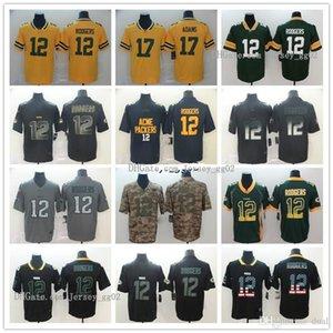 hombres verdeBahíaNFLPackersAaron Rodgers 12 Davante 17 Adams Negro Edición de Oro de la ciudad de humo de forma limitada camisetas de fútbol