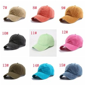 15styles Solid plain Baseball cap ladies washed cotton outdoor men women sunhat hat cap snapback party favor FFA4081-3