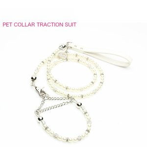 White Pearl Dogs Cats Collar Traction Suit Luxury Bichon Teddy Puppy Dog Chain Fashion Europe Style Pets Collar Leash Sets
