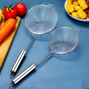 Skimmer Sieve Food Oil Handheld Mesh Stainless Steel Fried Filter Strainer Ladle Filter Colander Kitchen Accessories
