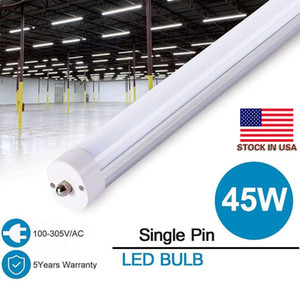 LED Tube Lights 8ft 6500K 45W Single Pin FA8 LED Tubes T8 8 ft Fixture 8 feeet LED Fluorescent Lamp AC85-265V + Us stocks