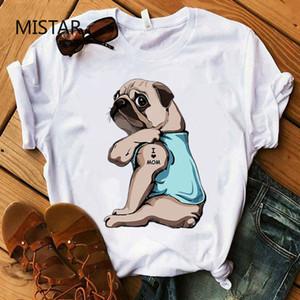 Мопс I Love Mom печати Смешные футболки рубашки Женщины Повседневная Белый Топы Harajuku собак футболки с коротким рукавом Graphic Tee женской одежды