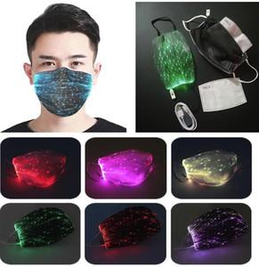 PM2.5 Filtreli DHL GEMİ Moda Parlayan Maske Noel Partisi Festivali Masquerade Rave Maske için 7 Renk Parlak LED Yüz Maskesi