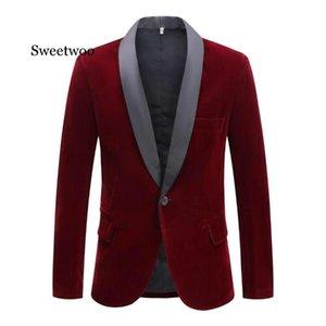SWEETWOO Men's Autumn Winter Velvet Wine Red Fashion Suit Jacket Singer Slim Fit Blazer